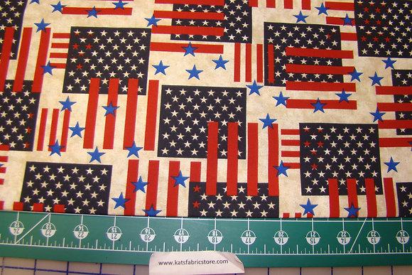 Patriotic Flags Stars Antique Cream
