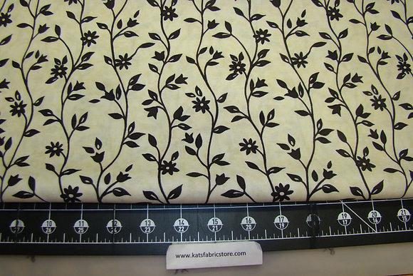 BX Meadowlark Floral Brown on Cream