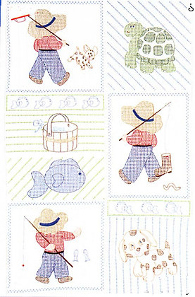 JDNA Stamped Crib Quilt Top Cross Stitch and Embroidery- Little Boys