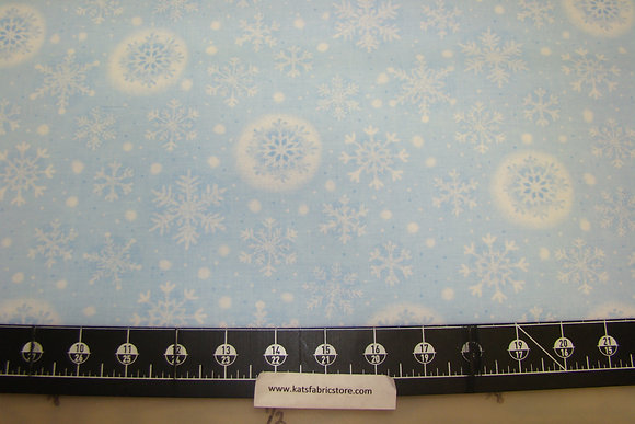 HLDY Snowflakes White on Lt. Blue