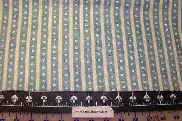 BX My Secret Garden Daisy Scroll Stripe Blue