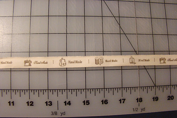 Handmade Ribbon Labels Off White/Brown