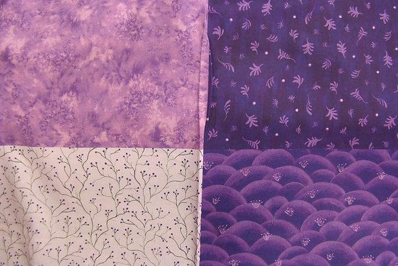 QT Fat Quarter Panel His Majesty The Tree Sprigs Purple