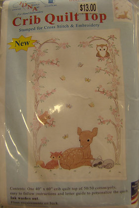 JDNA Stamped Crib Quilt Top Cross Stitch & Embroidery Deer and Friends
