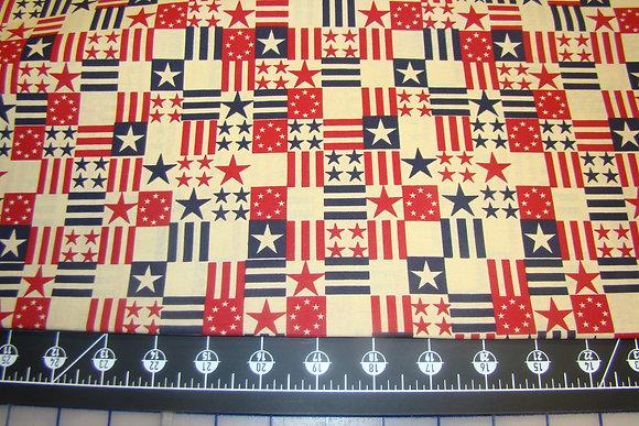 Patriotic Small Block Flag Antique White