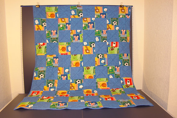 Childs Blue Sports Flannel Quilt