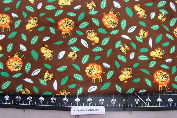Flannel Lions Leaves on Brown