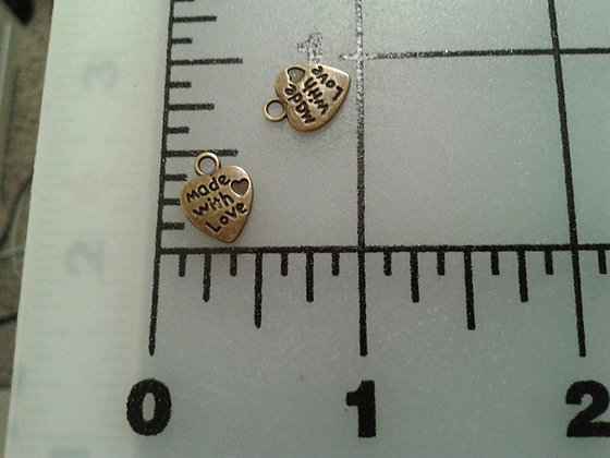 Heart Made With Love Charms Bronze
