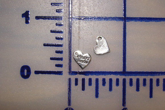 Small Heart Handmade Silver Charms Set of 10