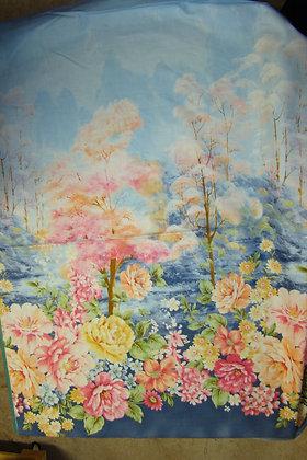 QT Garden Grandeur Floral Border Blue