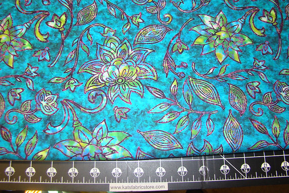 QT Kashmir Large Floral Turquoise