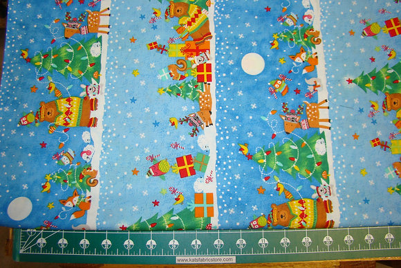 Christmas Bear Deer Border Blue TT DS