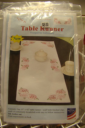 JDNA Rose Garden Table Runner- Stamped for Embroidery