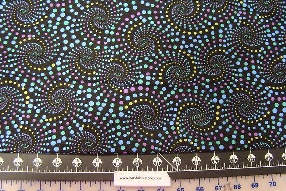 BX Horsen Around Dotted Spirals Black
