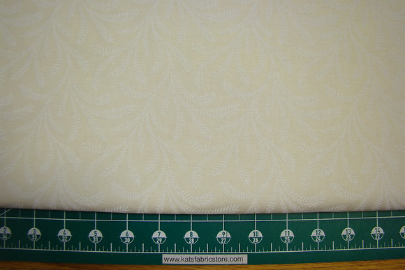 """108"""" Flowy White on Natural Quilt Backing"""