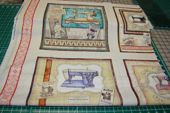 QT Tailor Made Large Sewing Machine Pic Patches Cream