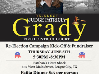 Judge Patricia Re-Election Kick-off & Fundraiser on Thursday, June 8th