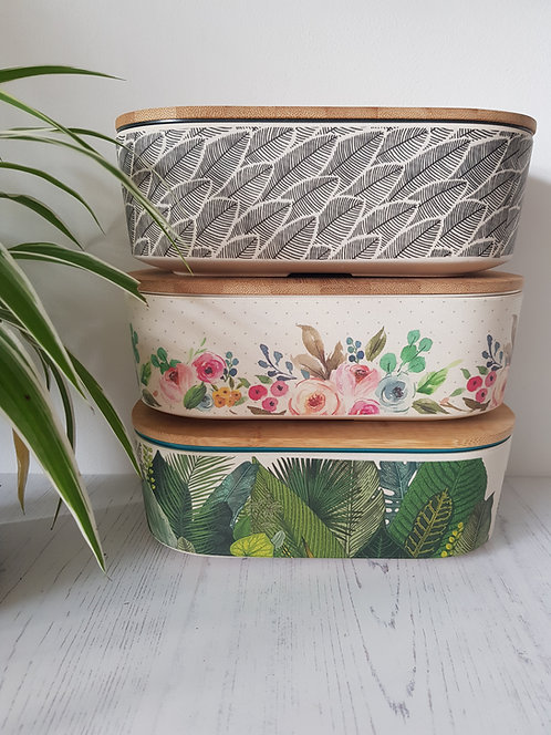 Deluxe bamboo Lunchboxes stacked 3 designs blue eyed sun