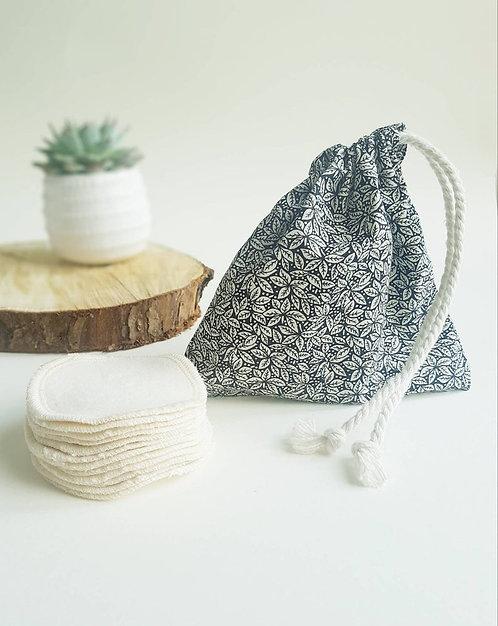 Leave no trace reusable cotton pads black floral design