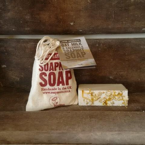 Living Naturally oatmilk and calendula soap bar with soap bag