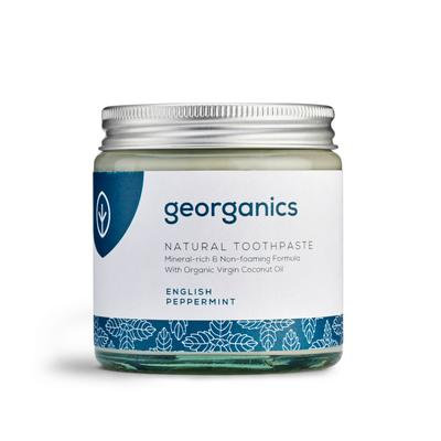 Georganics Natural Toothpaste English Peppermint 60ML in glass jar