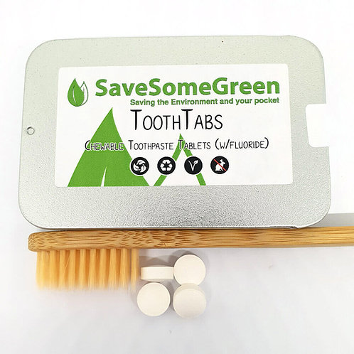 Save some green toothpaste tabs with flouride in tin with toothbrush