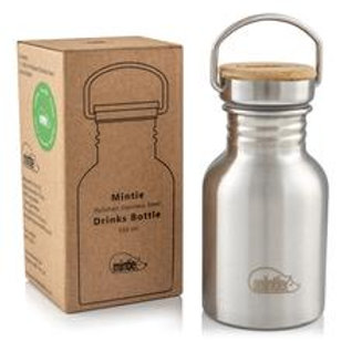 Mintie Stainless Steel bottle 350ml in front of box packaging