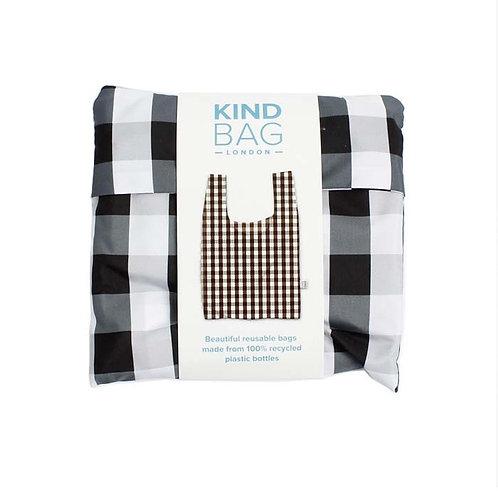 Gingham Black & White Reusable Shopping bag - Kind Bag in packaging