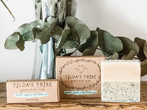 Poppy Seed & Peppermint Natural Goats Milk Soap - Tilda's Tribe 100g