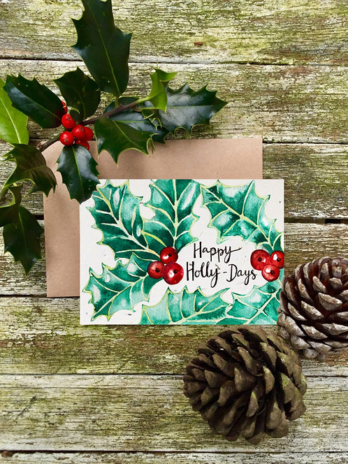 Happy Holly Days - Plantable Wildflower Card - Loop Loop