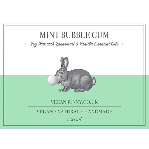 Mint Bubblegum Soy Candle - Vegan Bunny