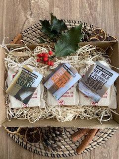 Living Naturally Soap Set Bundle Calendula and Chamomile, Bay laurel, Oat Milk and calendula natural vegan soap