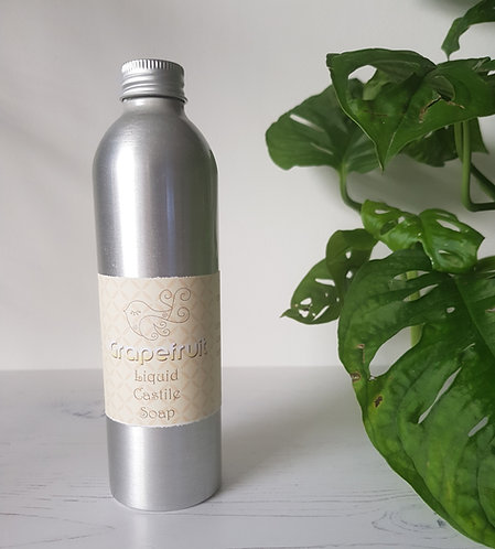 Little Blue Hen grapefruit liquid castile soap in aluminium bottle