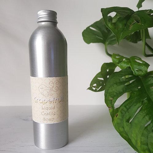 Little Blue Hen grapefruit liquid castile soap in aluminium bottle