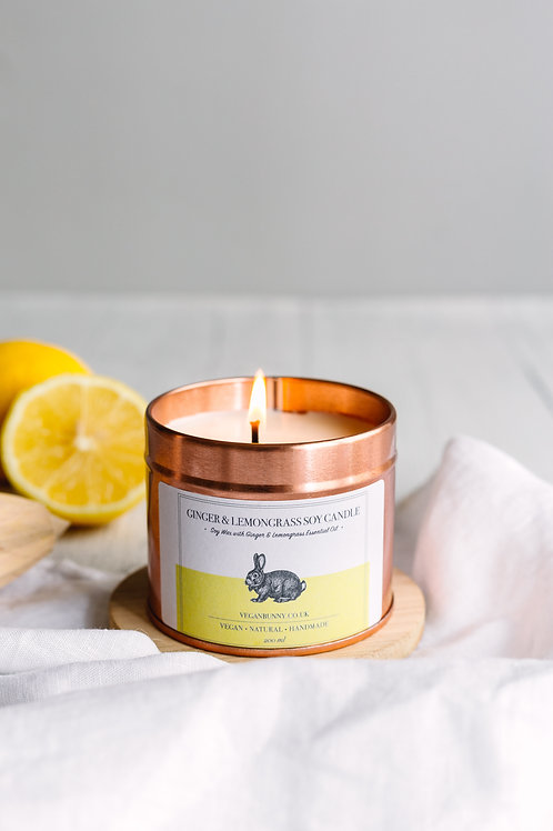 Vegan bunny Ginger snd lemongrass soy candle