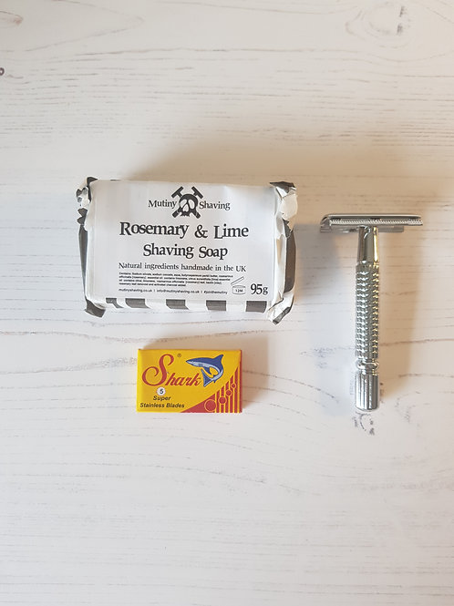 Mutiny mini shaving kit rosemary lime soap, chrome safety razor, replacement blades