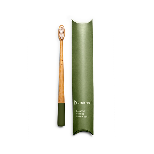 Truthbrush moss green bamboo toothbrush plant based bristles