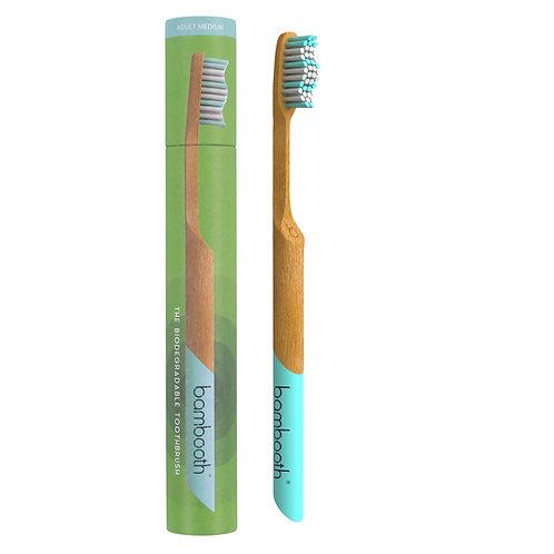 Adult Bamboo Toothbrush Medium - Aqua Marine - Bambooth with tube