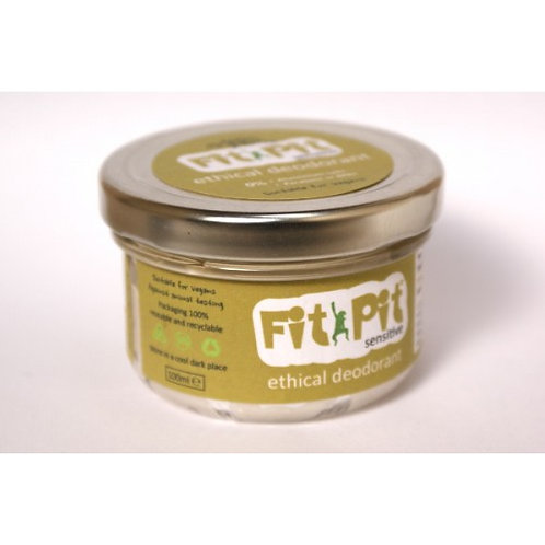 Large  Fit Pit unscented sensitive deodorant in glass jar