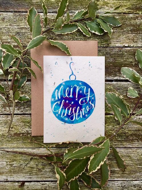 Loop Loop plantable Christmas Bauble card with brown paper envelope