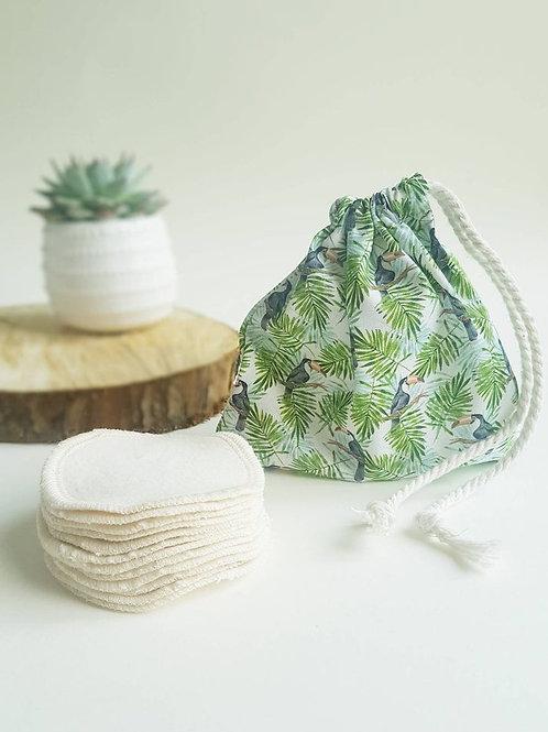 Leave No trace reusable cotton pads toucan design