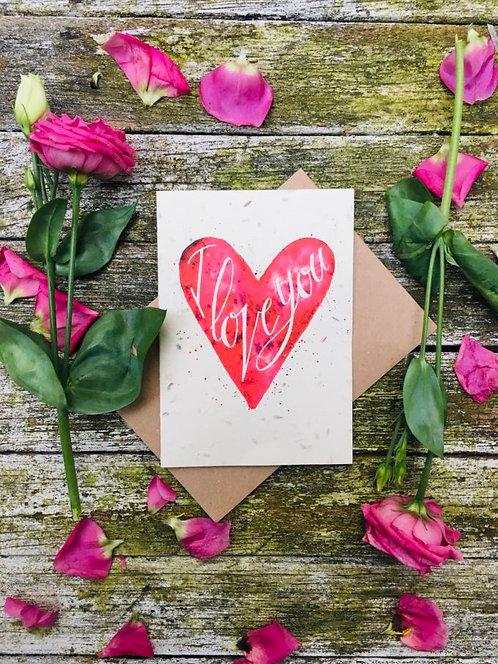 Loop Loop i love you Valentines Plantable card front image