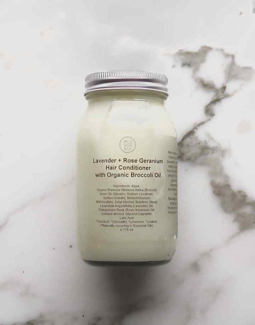 Wild Sage and co lavender and rose geranium hair conditioner in glass jar
