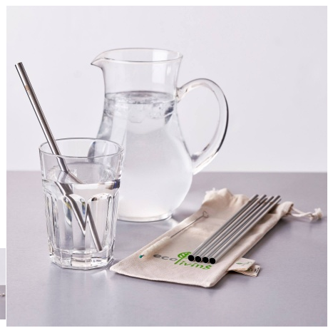 Eco living stainless steel smoothie straws 5 pk in jug and glass of water