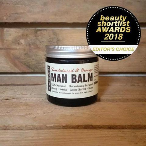 Living Naturally man balm moisturiser soapnut glass jar