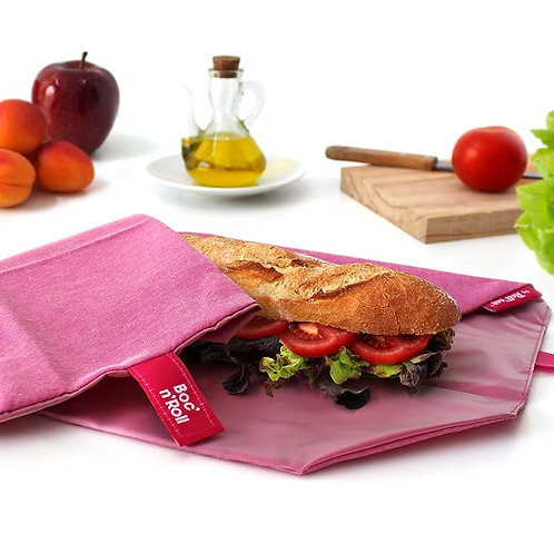 Pink Boc n roll reusable sandwich wrap open