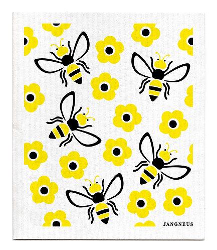 Black Yellow Bees Compostable Dishcloth - Jangneus