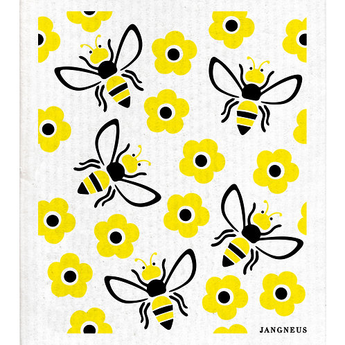 Black Yellow Bees Compostable Dishcloth - Jangneus