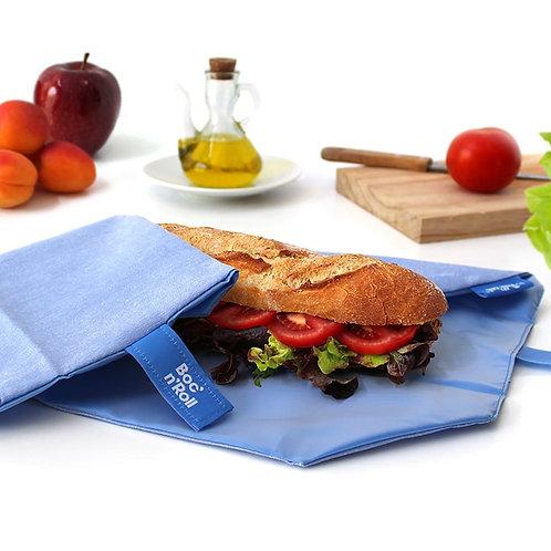Boc n roll blue reusable sandwich wrap open