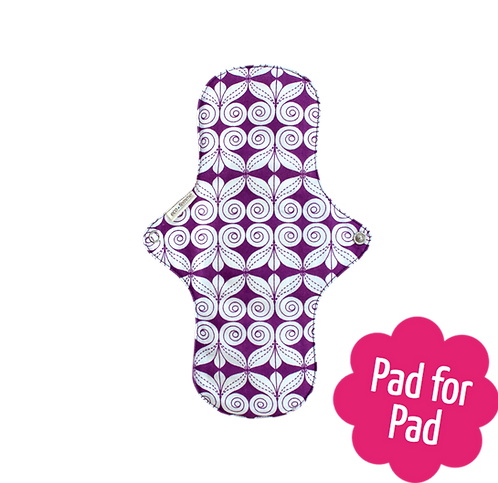 Eco femme day pad + front image purple and cream